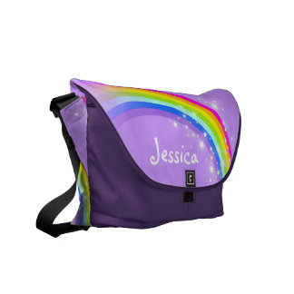 """your name"" rainbow purple kids school courier bag"