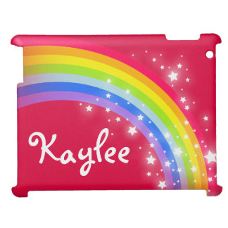 """your name"" rainbow red kids ipad case"