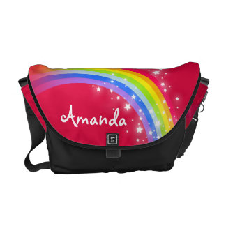 """your name"" rainbow red kids school courier bags"