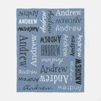 YOUR NAME Repeating, custom color fleece blanket