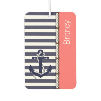 Your Name Retro Boat Anchor Cute Stripes Pattern