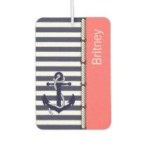 Your Name Retro Boat Anchor Cute Stripes Pattern Car Air Freshener