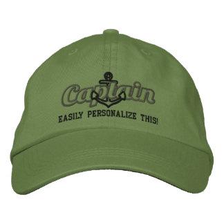 Your Name Sea Captain Nautical Anchor Embroidery Embroidered Baseball Cap