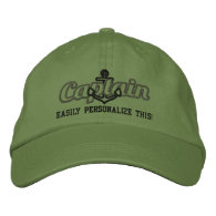 Your Name Sea Captain Nautical Anchor Embroidery Baseball Cap