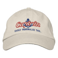 Your Name Sea Captain Nautical Anchor Embroidery Embroidered Baseball Caps