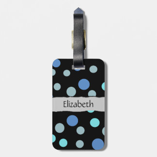 Your Name - Seamless Dots (Dotted Pattern) - Blue Travel Bag Tags