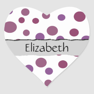 Your Name - Seamless Dots, Dotted Pattern - Purple Heart Sticker