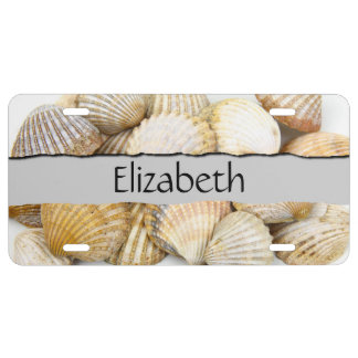 Your Name - Seashells, Cockleshells - Brown White License Plate