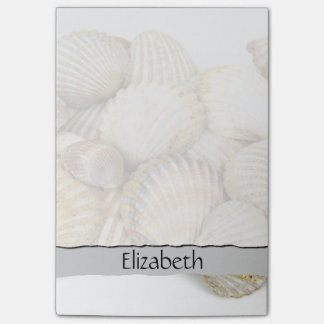 Your Name - Seashells, Cockleshells - Brown White Post-it® Notes