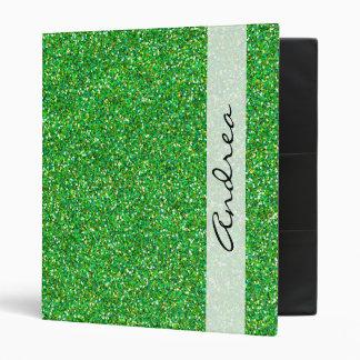 Your Name - Shiny Glitter, Glitter Glow - Green Binder