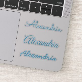 Your Name Sky Blue Handwritten Script Versions Sticker