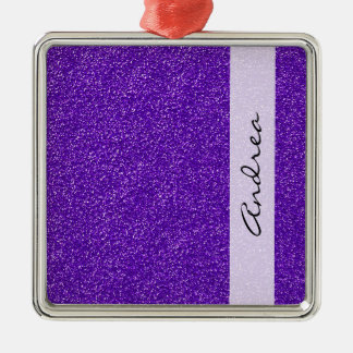 Your Name - Sparkling Glitter Glow - Purple Metal Ornament