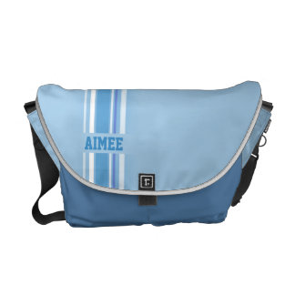 """""""your name"""" sporty blue hues girls stripe bag courier bags"""