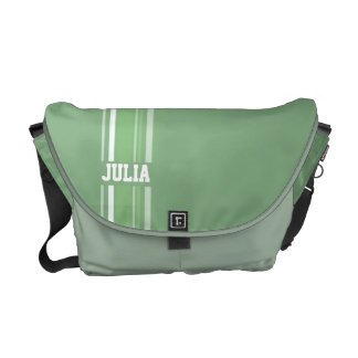 """""""your name"""" sporty green hues stripe bag courier bag"""