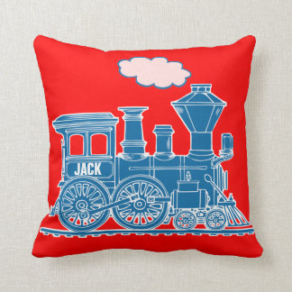 Your name steam train loco blue red throw pillow