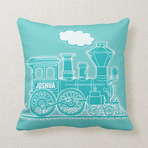 Your name steam train loco teal blue throw pillow