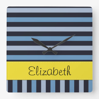 Your Name - Stripes Parallel Lines - Blue Yellow Wall Clock