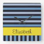 Your Name - Stripes (Parallel Lines) - Blue Yellow Square Wallclock