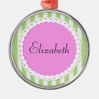 Your Name - Stripes (Parallel Lines) - Green Pink Christmas Ornament