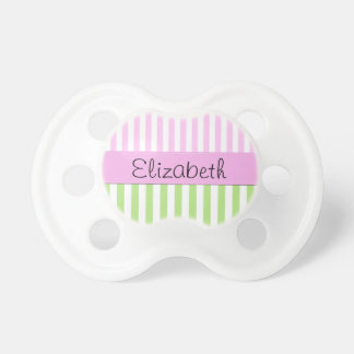 Your Name - Stripes Parallel Lines - Green Pink Baby Pacifiers