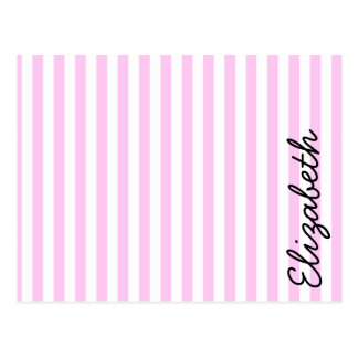 Your Name - Stripes, Parallel Lines - Pink White Postcard