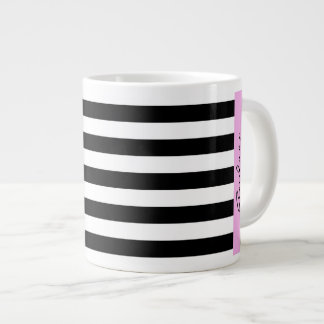 Your Name - Stripes, Parallel Lines - White Black Large Coffee Mug