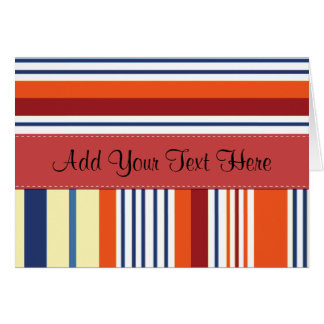 Your Name - Stripes (Parallel Lines) - Yellow Blue Greeting Cards