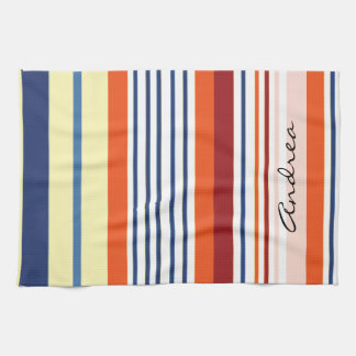 Your Name - Stripes (Parallel Lines) - Yellow Blue Towel
