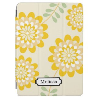 Your Name Stylish Yellow Floral Pattern | Cream iPad Air Cover