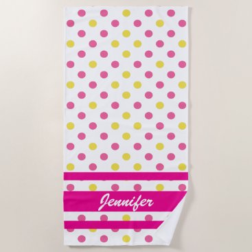 Beach Themed Your Name  - Summer Blue and Yellow Polka Dots Beach Towel