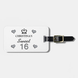 Your Name Sweet Sixteen In Diamonds Bag Tag