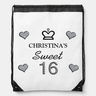 Your Name Sweet Sixteen In Diamonds Drawstring Backpack