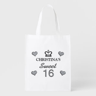 Your Name Sweet Sixteen In Diamonds Grocery Bag