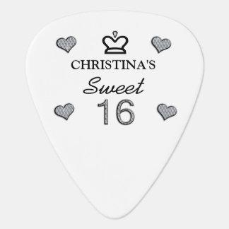 Your Name Sweet Sixteen In Diamonds Guitar Pick