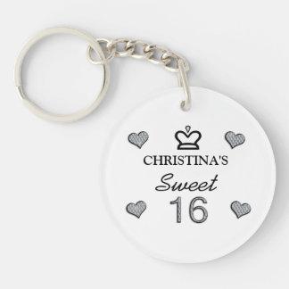 Your Name Sweet Sixteen In Diamonds Keychain