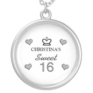Your Name Sweet Sixteen In Diamonds Round Pendant Necklace