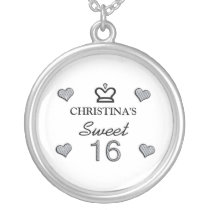 Your Name Sweet Sixteen In Diamonds Silver Plated Necklace