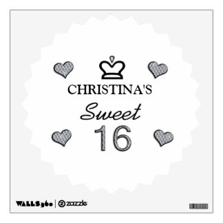Your Name Sweet Sixteen In Diamonds Wall Sticker