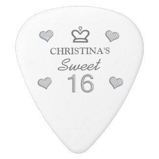 Your Name Sweet Sixteen In Diamonds White Delrin Guitar Pick