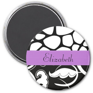 Your Name - Swirled Pattern, Swirly Style - Black Magnet