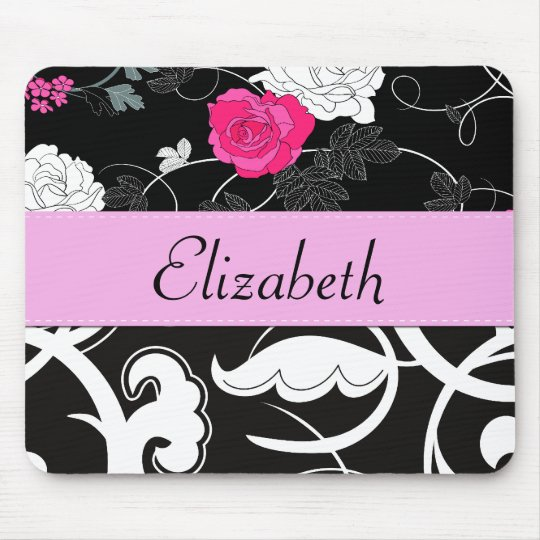 Your Name - Swirled Pattern, Swirly Style - Black Mouse Pad