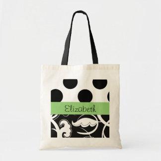 Your Name - Swirled Pattern, Swirly Style - Black Tote Bag