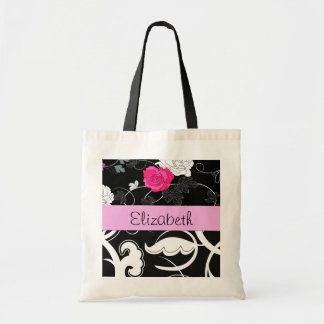 Your Name - Swirls, Flower - Black White Pink Budget Tote Bag