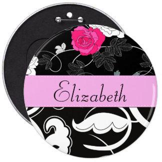 Your Name - Swirls, Flower - Black White Pink Pinback Button