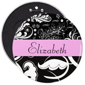 Your Name - Swirls, Flower - Black White Pink Pins
