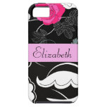 Your Name - Swirls, Flower - Black White Pink iPhone 5/5S Case