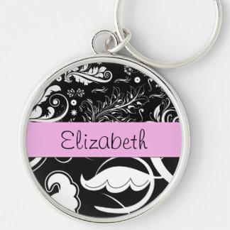 Your Name - Swirls, Flower - Black White Pink Key Chain