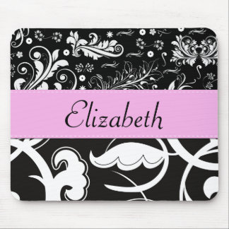 Your Name - Swirls Flower - Black White Pink Mousepads