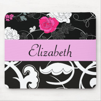 Your Name - Swirls, Flower - Black White Pink Mousepad
