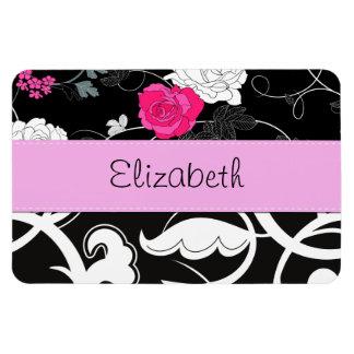 Your Name - Swirls, Flower - Black White Pink Rectangular Photo Magnet